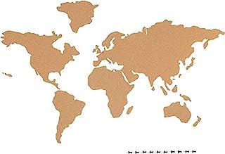 Navaris Mapa de Corcho Pared - Mapamundi Autoadhesivo para Fotos Banderas Carteles - con 10x Chincheta para marcar Lugares...