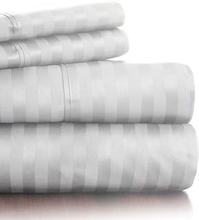 Bedford Home 300 Thread Count Cotton Sateen Sheet Set, Queen, White