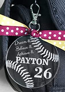 Softball Bag Tag, Softball Zipper Pull, Softball Gifts, Personalized Softball Gifts, Custom Softball Bag Tag, Girls Softball Team Gift
