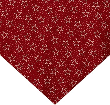 Santee Print Works Patriotic 108'' Quilt Backs Star Dot Fabric, Red/White/Antique, Fabric By The Yard