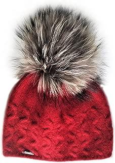 Cashmere Cable Hat with Detachable Genuine Fox Fur Pom CSH-735SRN