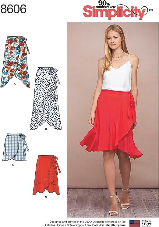 TRIXY XCHANGE Simplicity Sewing Pattern R10268 Size 16-24 Womens Ruffle Maxi Skirt Wrap Dress Large XL 2XL Plus Size High Low New Uncut