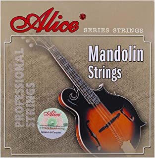 Alice Silver-Plated Copper Alloy 4-String Mandolin Strings, 3 Pack