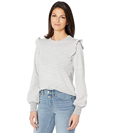 Lilla P Cotton Blend Terry Ruffle Crew Neck Sweatshirt Women
