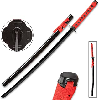 Tomahawk Black and Red Dojo Training Katana - Black Stainless Steel Blade, Red Cord Wrapped Handle, Lacquered Wooden Scabbard - Length 38