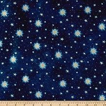 Fabric & Fabric QT Three Wise Men Stars Gold Metallic/Navy Fabric by The Yard