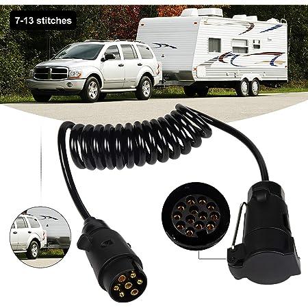 Exleco Anhänger Verlängerung Kabel Anhängerkabel Adapter7 13 Polig 2 Meter Spiralkabel Auto Anhänger Wohnwagen Auto