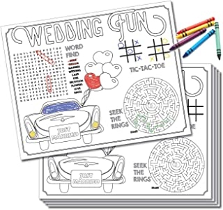 HDCo Kids Wedding Activity Placemats - 24 Count, Wedding Coloring for Kids, Kids Table Wedding Activities, Wedding Activities Placemats, Kids Wedding Favors