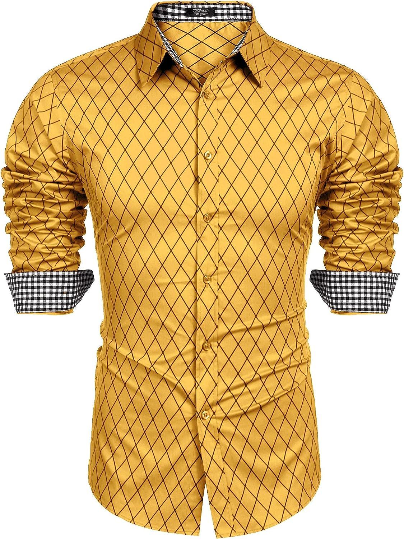JINIDU Men's Wrinkle-Free Classic Vertical Striped Long Sleeve Business Dress Shirts