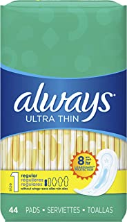 Always Ultra Thin Feminine Pads for Women, Size 1, Regular Absorbency, Unscented, 44 Count, Pack of 3
