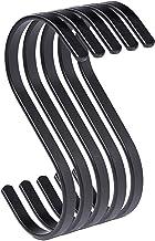 PAMO S haken zwart mat metaal - set van 5 - keukenhaken van roestvrij staal voor het ophangen van pannen in de keuken of k...