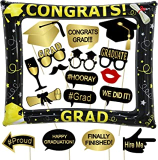 Tifeson Graduation Photo Booth Props and Inflatable Selfie Frame Include - Graduation Party Decoration Supplies 2019 for College High School,NO DIY Required 18 Counts