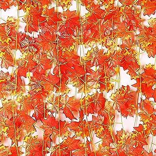 人工紅葉吊りつる ガーランド 24本セット 秋 人工観葉植物 季節飾り 撮影小道具 部屋の装飾 ハロウィーン 感謝祭 クリスマス お歳暮 パーティー飾り