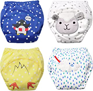 Baby Boy's Training Pants Toddler Potty Cotton Pants Cloth Diaper 4 Packs Cute Nappy Underwear for Kids Washable 3 Layers Potty Pants.(Bigger Than Normal Size, Suggest to Order Down a Size)