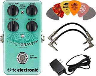 TC Electronic Hypergravity Compressor Pedal Bundle with 9V Power Supply, 2 Patch Cables, and 6 Assorted Dunlop Picks