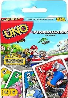 UNO Mario Kart, jeu de société et de cartes à l'effigie des personnages du jeu vidéo, dès 7 ans, GWM70
