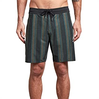 FASUWAVE Mens Swim Trunks Green Leaves Quick Dry Beach Board Shorts with Mesh Lining