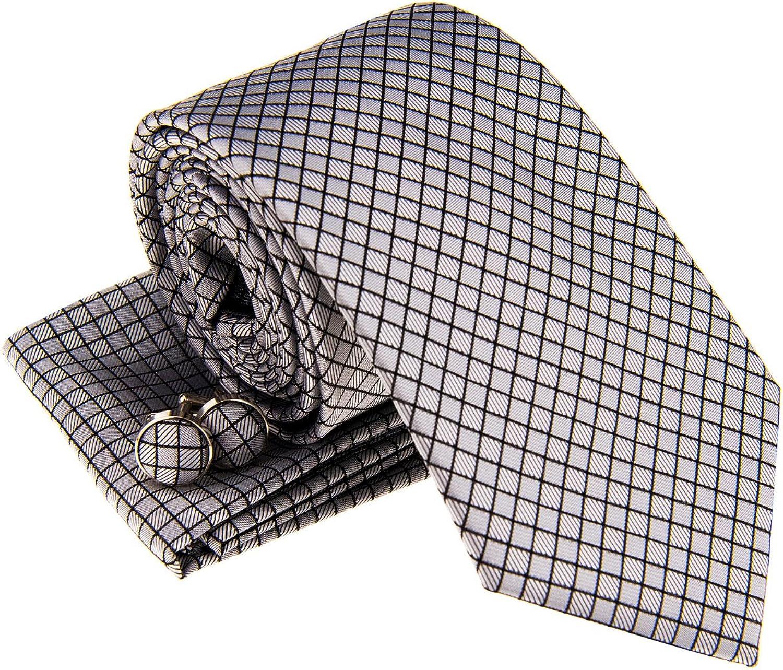 Retreez Check Textured Woven Men's Tie Necktie w Pocket Square & Cufflinks Gift Set