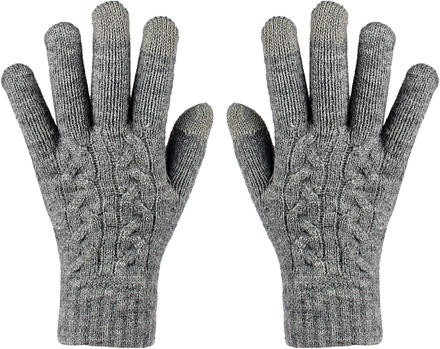 Touchscreen Texting Gloves Winter Warm Double Layer Elastic Knit Non-Slip Glvoes For Women