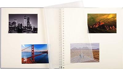 Exacompta - Réf. 16861E - Album Photos à Spirales Zen - 60 Pages Blanches avec feuillets intercalaires Cristal - 360 photos - Format 32x32 cm - Couverture en tissu gris - Fenêtre de personnalisation
