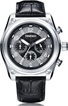 Time100 Men Multifunction Sports Casual Alloy Plating Case Leather Band Luminous Quartz Watches (Sliver)