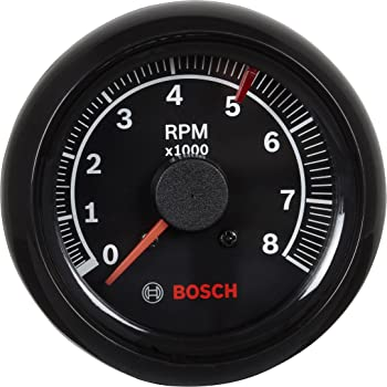Black Dial Face, Chrome Bezel Bosch SP0F000018 Sport II 3-3//8 Tachometer