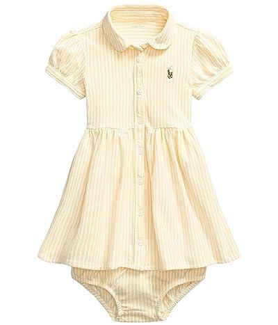 Polo Ralph Lauren Kids Striped Knit Oxford Dress (Infant) (Yellow/White) Girl