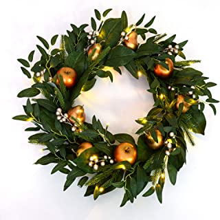 MARTHA STEWART Wreath Pre-Lit Artificial Greenery, 24 Inch, Gilded Fruit