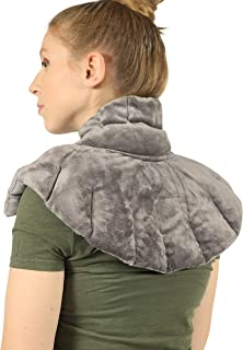 Heated Microwaveable Neck and Shoulder Wrap - Herbal Hot/Cold Deep Penetrating Herbal Aromatherapy (Charcoal)