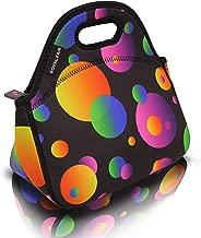 ROYALFAIR Neoprene Lunch Bag Tote Reusable Healthy Lunch Boxes Suit for Men Women Boys Girls Zipper Close (Black 2)