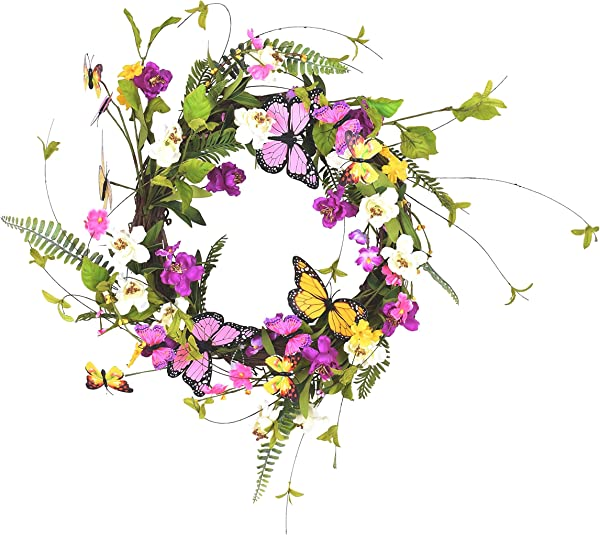 Ten Waterloo 22 Inch Wildflower Butterfly Wreath Artificial Floral On A Natural Twig Base