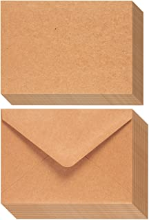 A7 Envelopes and Cards - 50-Count A7 Invitation Envelopes and 50-Count 5 x 7 Flat Cards, Kraft Paper A7 Cards and Envelope...