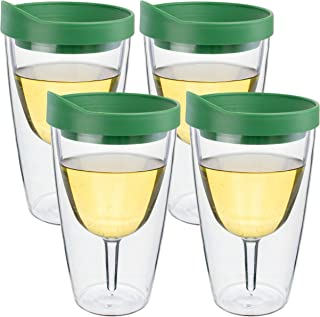 Southern Homewares SH-10062-4PK Acr Green Lid Wine Tumbler, 16oz, 4 Pack Insulated Double Wall Acrylic w/See Through Cup, Clear
