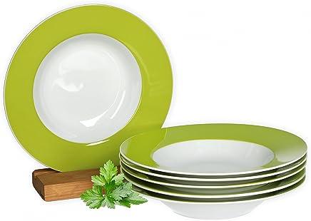 Preisvergleich für Van Well 6er Set Suppenteller Serie Vario Porzellan - Farbe wählbar, Farbe:grün