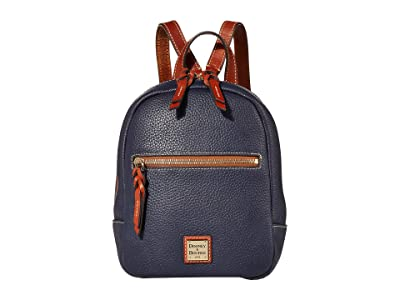 Dooney & Bourke Pebble Small Ronnie Backpack (Midnight Blue/Tan Trim) Backpack Bags