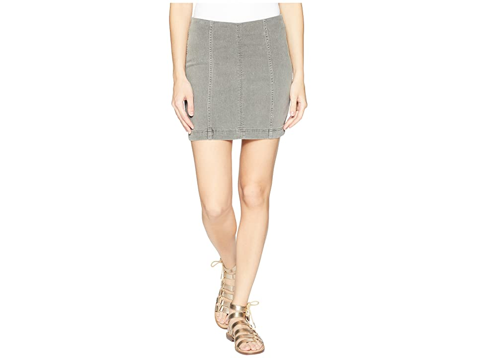 Free People Modern Femme Denim Mini Skirt (Light Grey) Women