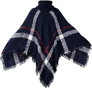 Womens Dress Ponchos, Boho Loose Tassel Plaid Poncho Turtleneck Jumper Knit Oversized Pullover Sweater Tops for Women
