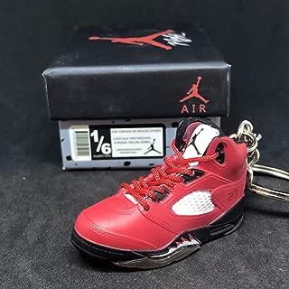 Air Jordan V 5 Retro Raging Bull Toro Red OG Sneakers Shoes 3D Keychain 1:6 Figure + Shoe Box