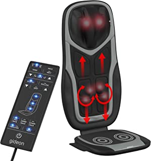 Gideon Shiatsu Massage Seat Cushion with Six Programs and Heat Deep Kneading Back Massager for Car, Home Office