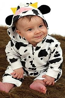 Pelele para bebé de Baby Moo.s- diseño de vaca. disfraz de bebé- regalo ideal para niñas o niños multicolor Black- White Talla:0-3 Meses
