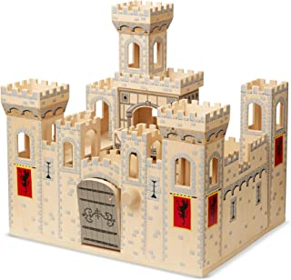 "Melissa & Doug Folding Medieval Wooden Castle (Pretend Play Set, Drawbridge and Turrets, 27"" H x 15.25"" W x 17.5"" L, Great Gift for Girls and Boys - Best for 3, 4, 5, and 6 Year Olds)"