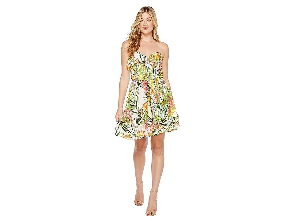 Adelyn Rae Leanna Woven Strapless Dress (White/Green) Women