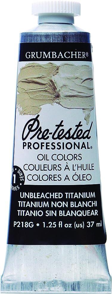 Grumbacher Pre-Tested Oil Paint, 37ml/1.25 Ounce, Unbleached Titanium White (P218G)