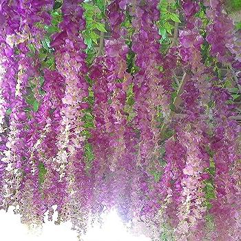 Set de 12 plantas (102 cm) Artificiales Glicinias Seda Colgante ...