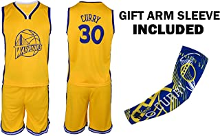 Fanatics Collectibles Steph Curry Yellow Kids Basketball Jersey Shorts Set Youth Sizes Premium Quality Gift Set with Compression Shoorter Arm Sleeve