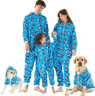 Christmas Family Matching Pajamas Set, Drop Seat Onesie Hooded Zip Up One Piece PJs for Couples, Kids, Pets