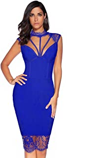 Womens Rayon Lace Patchwork Sleeveless Bandage Bodycon Club Party Dress