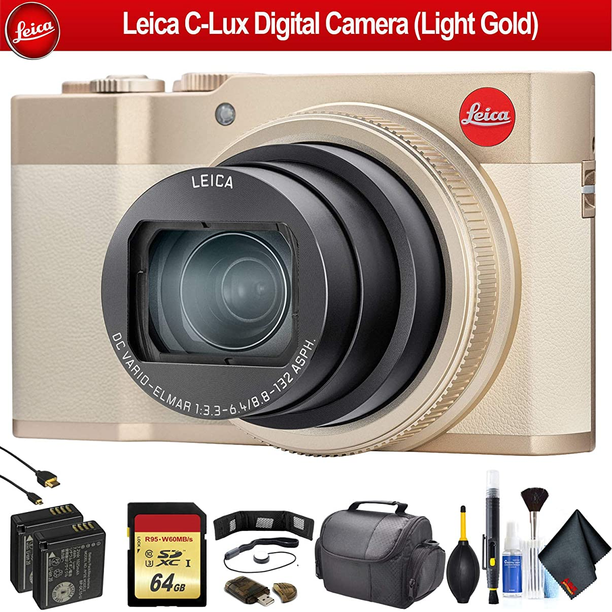 Leica C-Lux Digital Camera (Light Gold) 19126 - Advanced Bundle