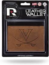 محفظة ثلاثية الطي من الجلد البني المنقوش بشعار Rico Virginia Cavaliers NCAA