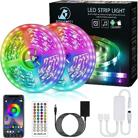 Bonve Pet 12M Bluetooth Striscia LED Musicale 5050 RGB, Luci Led Strisce LED Adesive con 40 Tasti, Nastri Led con Funzione Musicale Controllo App e Telecomando per Decorazione TV Camera Cucina